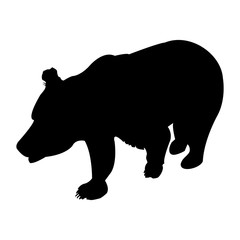 Silhouette of brown bear. Vector Illustration Isolated On A Transparent Background