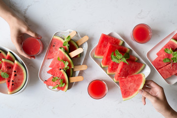 Delicious watermelon summertime snack on a plate. Dessert. Flat lay, top view.