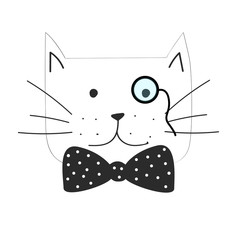 Vector illustration of the grumpy cat with bow tie