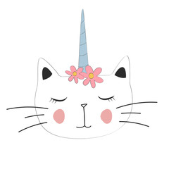 cute cat unicorn, with motif for poster,