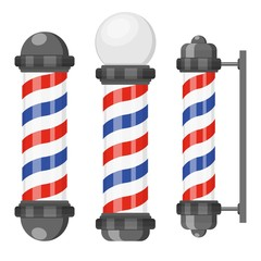 Barber shop poles with stripes isolated on white background. Barbershop sign, hairdresser symbol in flat style. Vector illustration