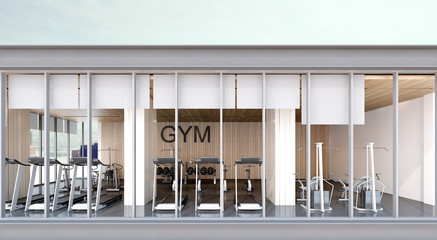 Gym room , view from balcony , 3d rendering