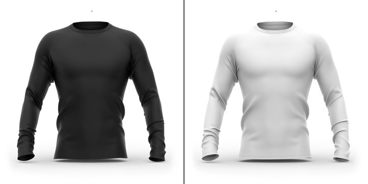 Men's t shirt with long raglan sleeves. 3d rendering. Clipping