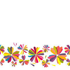 Floral background. Multicolored flowers. Motley. Rainbow. Drawing. Vector illustration. Border.