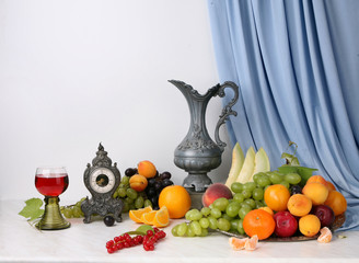 still life fruit objects food utensils pitchers cups composition tasty appetizing fresh white background dutch style