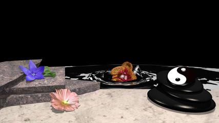 verschiedene Blumen, Steinhaufen aus Bimsstein, yin und yang Symbol und eine Orchidee die im Wasser versinkt vor schwarzem Hintergrund. 3d render