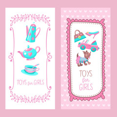 Toys for little princesses. Set of vector cliparts.