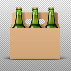 Realistic detailed green glass beer bottles with drink in craft packaging isolated on a trasparent background. Vector illustration. Mock up template blank for product packing advertisement.