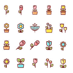 Set of simple flowers icons.