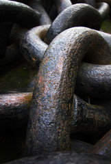 Huge old rusty ship chain detail