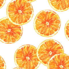 A seamless background pattern with watercolour oranges