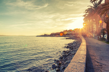 Beautiful cityscape, the promenade in Ajaccio at sunset, travel to Corsica, France