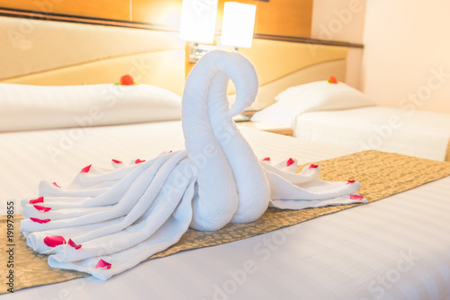 Swan Couple Put On Honeymoon Bed Look Like Heart Shape With Flower