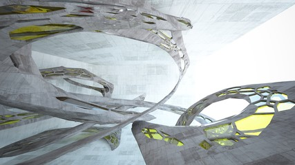 Abstract white and concrete interior  with glossy green lines. 3D illustration and rendering.