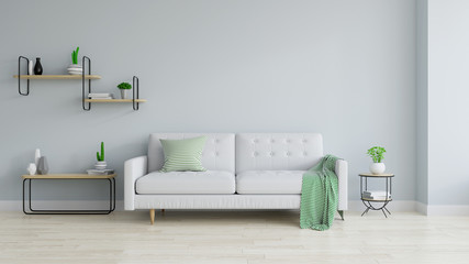 Modern and minamalist interior of living room , white sofa and wood table on white  blue wall and wood floor ,3d render