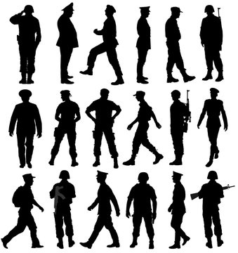 Large collection of different soldiers vector silhouette illustration isolated on white background. Saluting army soldier's silhouette vector. (Memorial, Veteran's day). army and military concept.