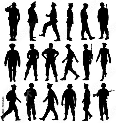 f7f4f4d6e Large collection of different soldiers vector silhouette ...