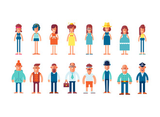Big set of characters in flat style. Man and woman in different clothes. Cartoon style, vector illustration.