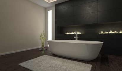 Gloomy modern black bathroom interior