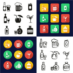 Alcohol All in One Icons Black & White Color Flat Design Freehand Set