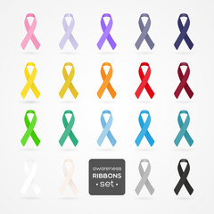 Set of awareness ribbons. Realistic style. Vector illustration.