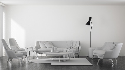 Sofas with armchairs in spacious minimalist room