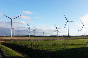 Windmills power plant in rural landscape, Germany