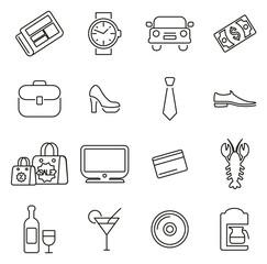 Adult Life & Adult Stuff Icons Thin Line Vector Illustration Set