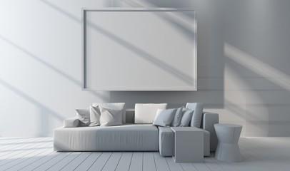 Monochromatic white living room mock up