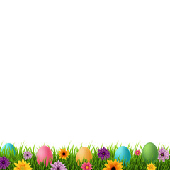 Happy Easter Postcard With Flowers And Grass