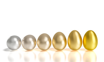 silver and gold eggs