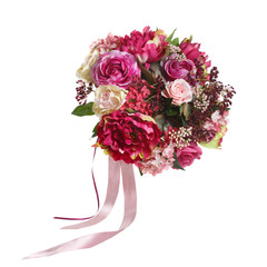 Beautiful bouquet in red and burgundy tones isolated on white background.