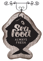Vector street signboard or banner for seafood restaurant or shop with the caught fish on the hook, inscription, and the words fresh fish on a wooden background in retro style.