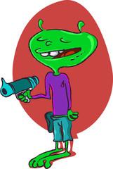 funny alien with plasma gun cartoon