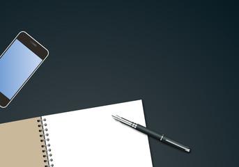 bureau - fond - présentation - arrière plan - entreprise - vue du dessus - smartphone - cahier
