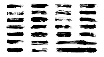 Grunge paint stripes, vector brush strokes. Grungy banner, texture, box, frame set. Isolated dirty paintbrush collection. Textured shapes and brushes (add in Ai menu) . Dry hand drawn borders, lines.