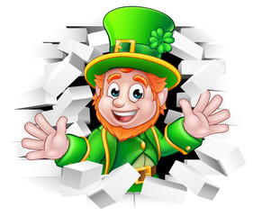 St Patricks Day Leprechaun Breaking Wall