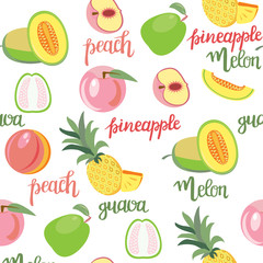 fruits peach, guava, melon, pineapple seamless pattern and hand drawn lettering,