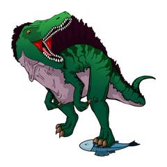 Isolated illustration of a cartoon Spinosaurus