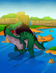 Spinosaurus on the river background
