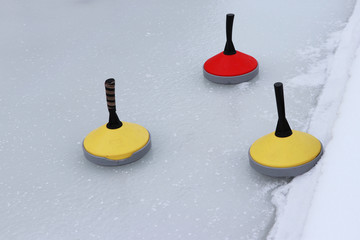 Three Curling cone on rink