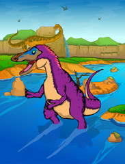 Pinocchio Rex on the river background