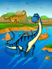 Diplodocus on the river background