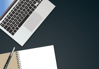 bureau - fond - présentation - arrière plan - entreprise - vue du dessus - ordinateur - cahier