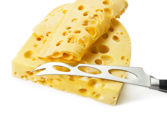 emmental cheese with knife isolated on white background