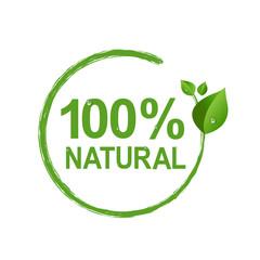 100% Natural Logo Symbol Transparent Background