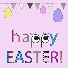 Happy easter background with eggs and flags. Greeting card fashion design. Template of invitation, Easter illustration for you poster or flyer.