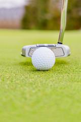 ゴルフ場のグリーンとボール