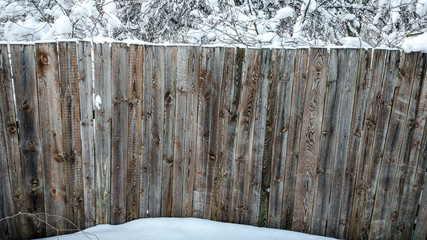 Beautiful wooden fence in winter. Planks covered with snow. Against backdrop of bushes and trees strewn with snow. Beautiful texture of wooden boards, outdoors in frost.