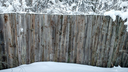 Beautiful wooden fence in winter. Planks covered with snow. Against backdrop of bushes and trees strewn with snow. Beautiful texture of wooden boards, on the street during the day in frost.